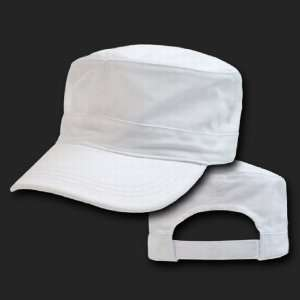 White Flat Top Military Inspired Adjustable Cadet Baseball