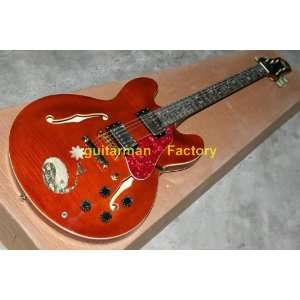 new custom es hollow body jazz guitar vos red whole
