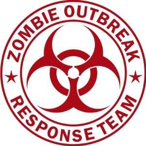 Large Zombie Outbreak Response Team  Red  Vinyl Decal