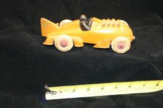 Original 1930s Orange Hubley Cast Iron Fin Tail Racer Rocket Race Car