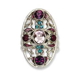 1928® Silver tone Teal, Purple Crystals Stretch Ring