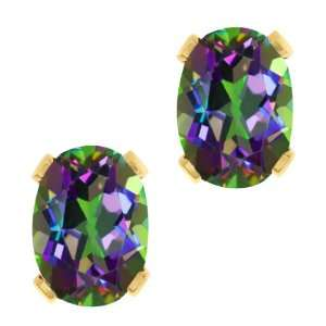 3.20 Ct Oval Green Mystic Topaz Gold Plated 4 prong Stud