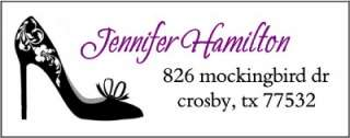 CLASSY BLACK HIGH HEEL SHOE #14 RETURN ADDRESS LABELS