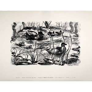 1954 Lithograph Aileen Trump Modern Art Pond Ducks Wildlife Nathan W