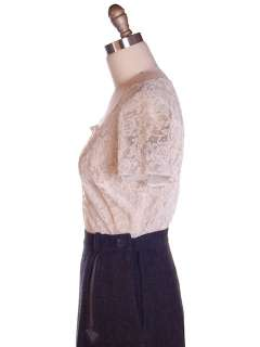 Vintage Nylon Ivory Lace Blouse Re Embroidered 1940S 38 Bust