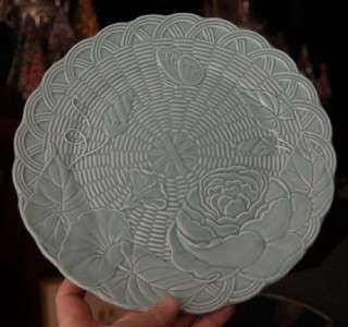 GENEVIEVE LETHU FLORAL BUTTERFLY CELEDON MAJOLICA PLATE