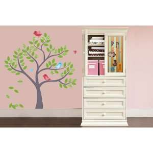Tree Vinyl Wall Decal with 3 Birds and Butterflys