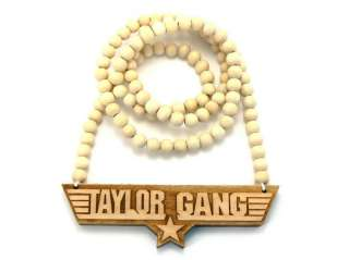 TAYLOR GANG Good Quality Wood Pendant 36 Wooden Ball Chain Necklace