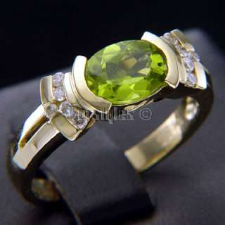 Natural Peridot Diamonds 10k Solid Gold Ring r00002
