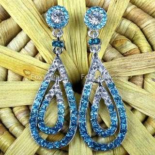 BLUE Pair Silver Tone Rhinestone Dangle Drop Earrings
