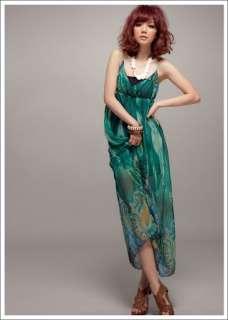 Womens Girl BOHO Green Slim Chiffon Maxi Dress Sundress