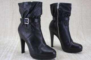 Michael Kors Veronica Black Leather Ankle Boots 7