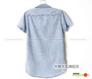 Women Fashion Casual Jean Denim Long Shirt Blue New 049