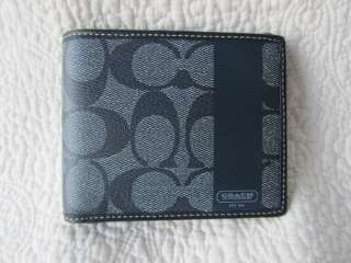 NEW Coach Mens Navy Blue Heritage Stripe Bifold Wallet with ID Case