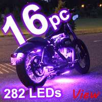 10pc PURPLE LED FLEXIBLE STRIP KIT MOTORCYCLE LIGHTS
