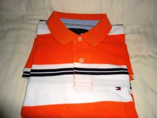 NEW TOMMY HILFIGER MENS STRIPED POLO SHIRTS VARIOUS STYLES & COLORS