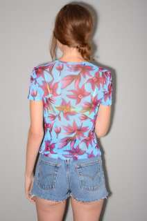 Vtg 90s VERSACE JEANS COUTURE Sheer MESH Crop Top XS S Floral Half