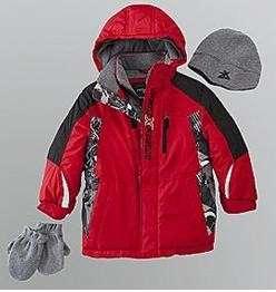NWT Boys RED Black ZEROXPOSUR Winter Coat Ski Jacket Size 3T 4 7