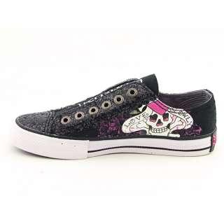 Ed Hardy 11FLR301W LR Glitter Womens SZ 9 Black Sneakers 40 EU 6.5 UK