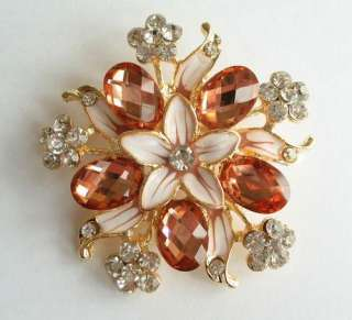 VARY COLORS BIG SWAROVSKI CRYSTAL GOLD FLORAL PIN BROOCH 1114