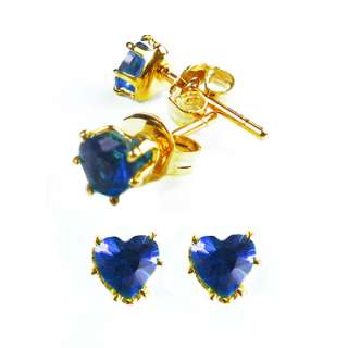 HEART CUT BLUE SAPPHIRE YELLOW GOLD GP STUD EARRINGS