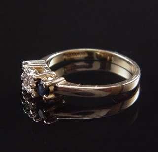 BEAUTIFUL ESTATE 14K YELLOW GOLD ENDLESS DIAMOND SAPPHIRE THREE STONE