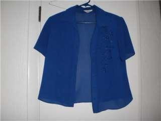 Studio I Petite Two Piece Blue Outfit Dress/Jacket 12P