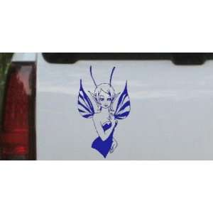 Cute Pixie Fairy Car Window Wall Laptop Decal Sticker    Blue 40in X