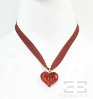 Lalique Red Glass Heart & Ribbon Necklace