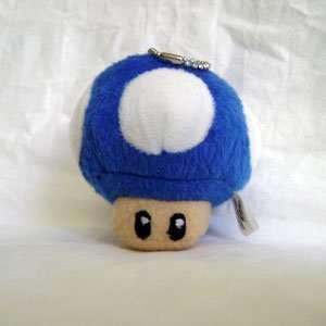 Super Mario Bro. BLUE Mushroom Plush Keychain Toys