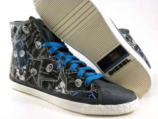 New Diesel Yore High Top Blue/Gray Pattern Casual Sneaker Fashion Men