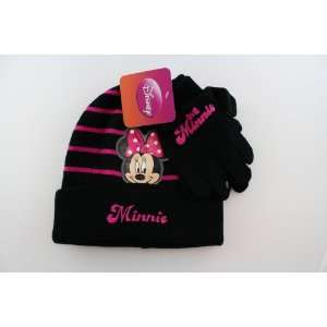 Minnie Mouse Striped Beanie and Glove Set (Black) Toys