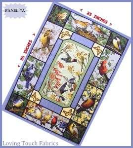 MIXED BIRDS CARDINAL, BLUE JAY, YELLOW BIRDS QUILT FABRIC PANEL 25 X