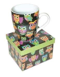 New OWL PATTERN 12 oz Coffee Mug in Matching Gift Box