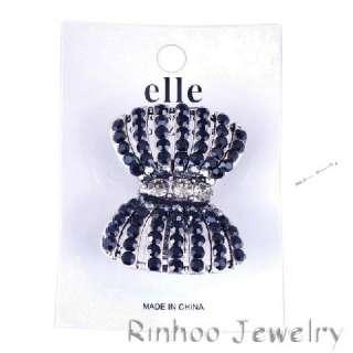 Bowknot Rhinestone Crystal Oversize Stretch Vtg Ring 1p