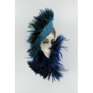 Porcelain Mardi Gras Feather Lady Face Wall Art Mask