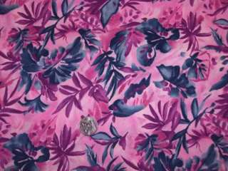 Tropical Magenta Grey Retro Floral Leaf Valance Curtain