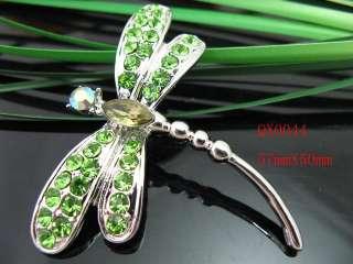 Charm Green Dragonfly Rhinestone Crystal Brooch QX0044