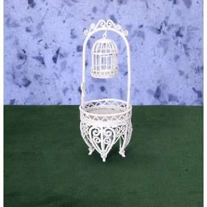 Miniature White Wire Plant Stand with Birdcage