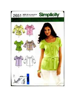 2651 Simplicity Pattern Misses Summer Blouse