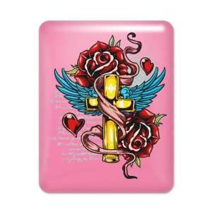 iPad Case Hot Pink Roses Cross Hearts And Angel Wings