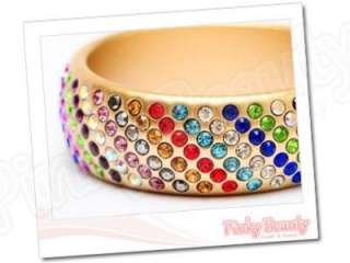 Colorful Rhinestone Handmade Gold Bracelet Bangle 27mm