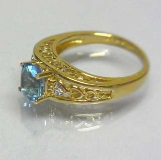 Ring w/ 8x6mm Topaz Diamonds in Heart Design Yellow Gold Setg 4.3g