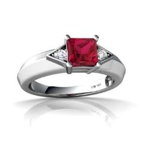 14K White Gold Square Created Ruby Ring Size 6.5 Jewelry