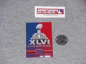 New York Giants Super Bowl 46 World Champions Flat Logo Magnet Manning