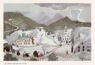 GRANDMA MOSES print winter snowstorm A BLIZZARD