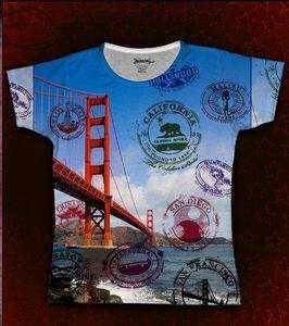 NEW RANDOM WORLD Sublimation Print T Shirt CALIFORNIA BRIDGE M Cap