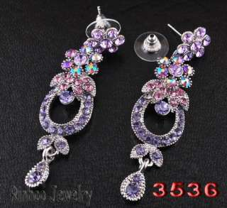 Purple Circle Flowers Leafs AB Rhinestone Crystal Bridal Prom Necklace
