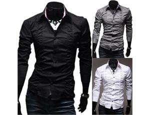 Freeship New Men Luxury Casual Slim Fit Stylish Dress Shirts 3Colors