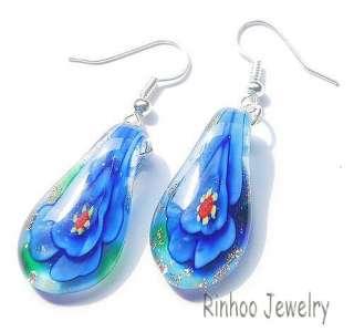 Lampwork Glass Beads Necklace Earring Set Gold Dust Flower IN